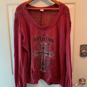 Affliction sweatshirt maroon